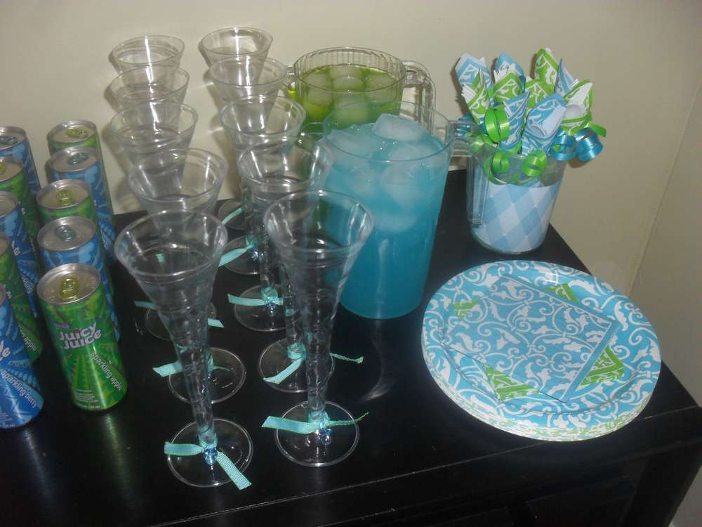 Turquoise & Lime Green Baby Shower Party Ideas Photo 7
