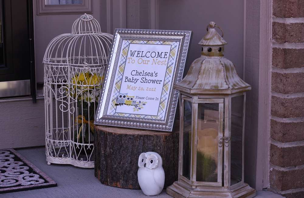 Owl Theme Yellow And Gray Baby Shower Party Ideas