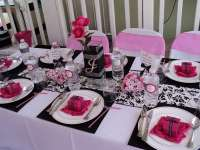 Hot pink,black and white. Baby Shower Party Ideas | Photo ...