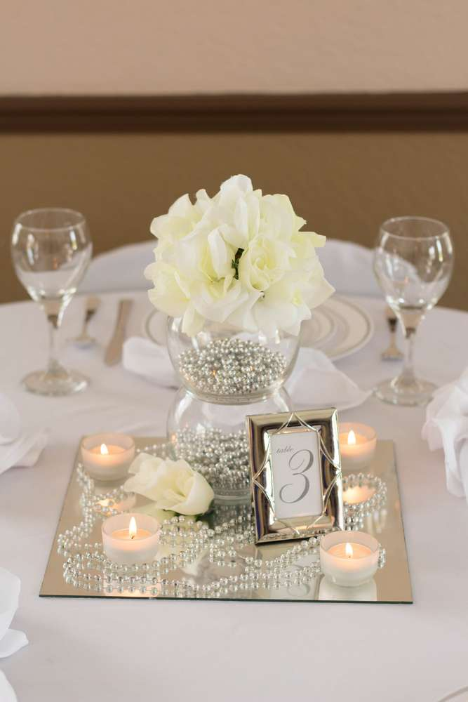 75th Anniversary Silver White And Wedding Flowers