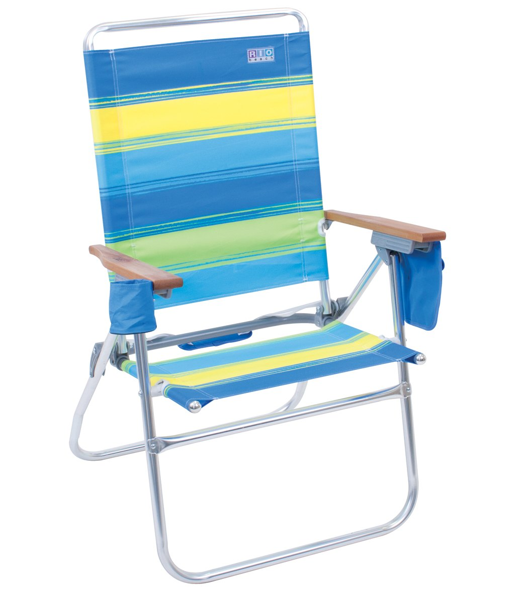 rio high boy beach chair office arm pads brands the hi blue and green striped