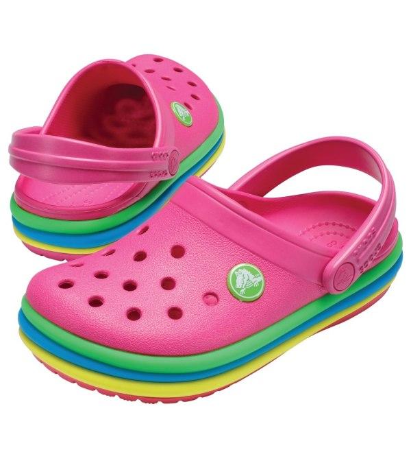 Crocs Girls' Cb Rainbow Band Clog Toddler Little Kid