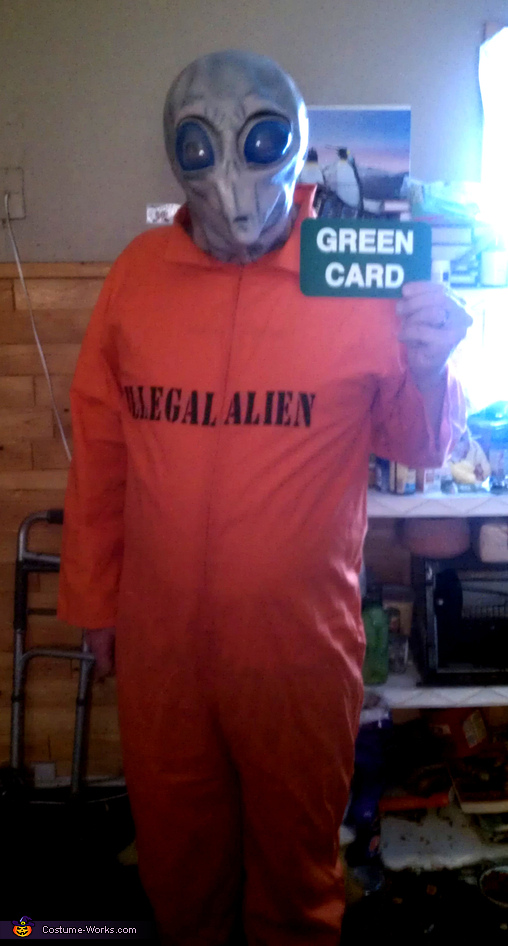 Space Alien with Green Card Halloween Costume