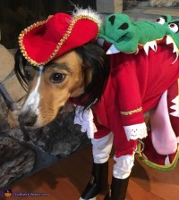 Tick Tock Croc chasing Captain Hook Dog Costume - Photo 2/6