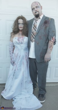 Homemade Zombie Bride and Groom Costume