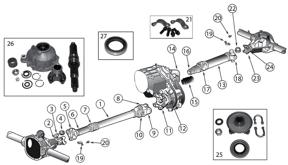 Explosionszeichnung Kardanwellen Jeep XJ Cherokee 1984