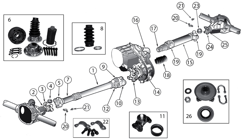 Diagram Propeller Shafts Jeep ZJ/ZG Grand Cherokee 1993