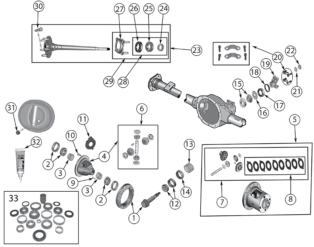 Diagram Rear Axle DANA 44 Jeep WJ/WG Grand Cherokee 1999