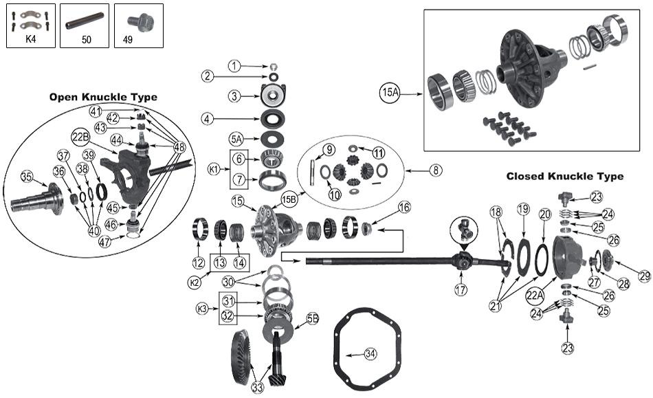 Technické schéma Přední Náprava DANA 44 Jeep SJ Grand