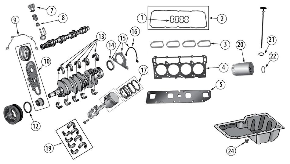 Diagrama Motor Hemi 6.1 Jeep WK/WH Grand Cherokee 2005
