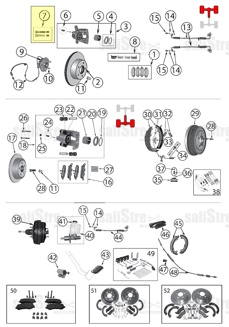 Brake Caliper Pin Kit, anteriore Jeep Cherokee, Liberty KJ