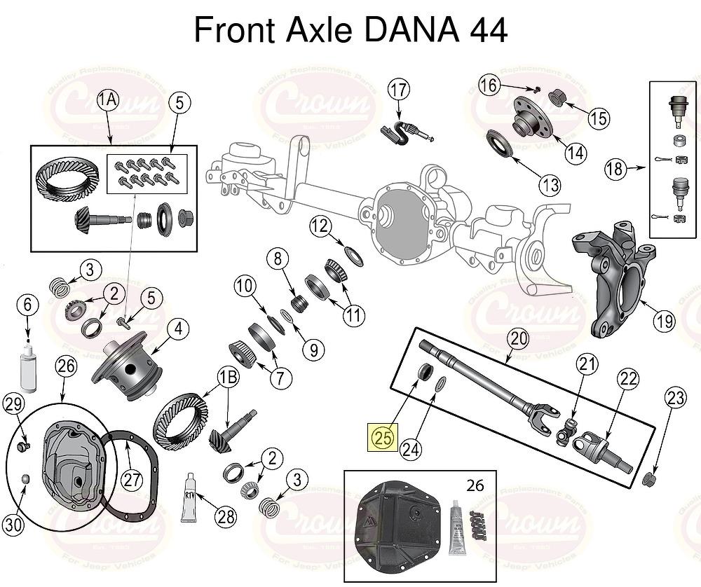 Axle Shaft Seal, Inner, vorne Jeep Wrangler JK 2007+ DANA