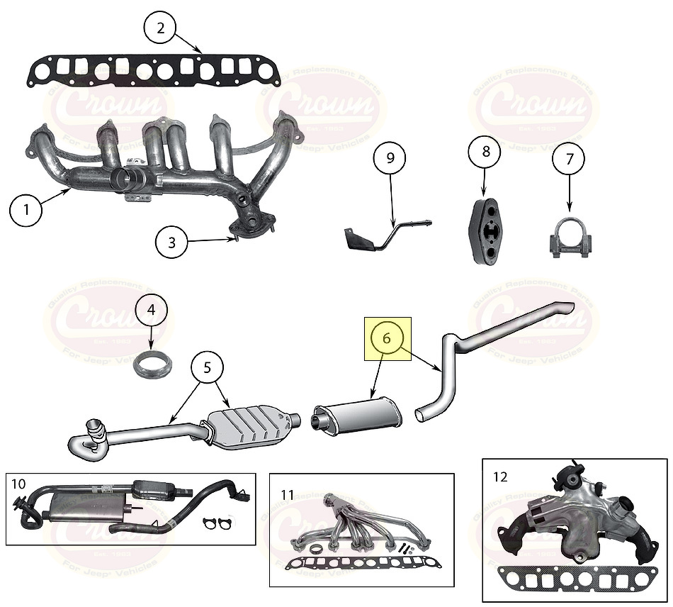 Muffler and Tailpipe Kit Jeep Wrangler TJ 1999/2000 (4.0 L