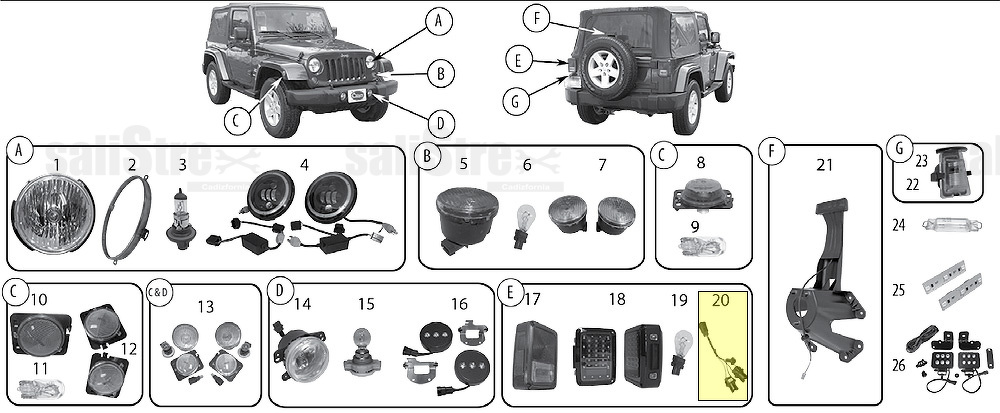 Tail Light Wiring (non EU) Jeep Wrangler JK 2007+ (2.8 L 3