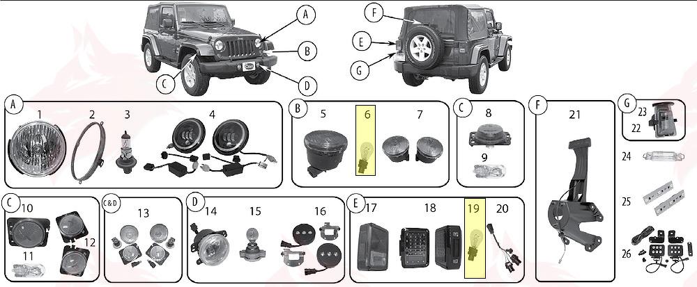 Article pour model L0003157 Ampoule for Jeep JK Wrangler