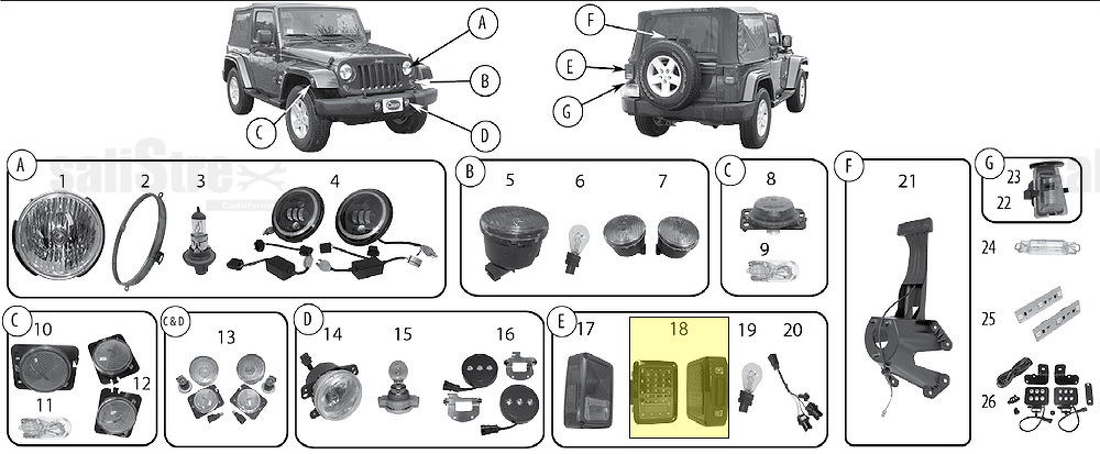 LED Tail Light Set, Red Lens (not EU) Jeep Wrangler JK