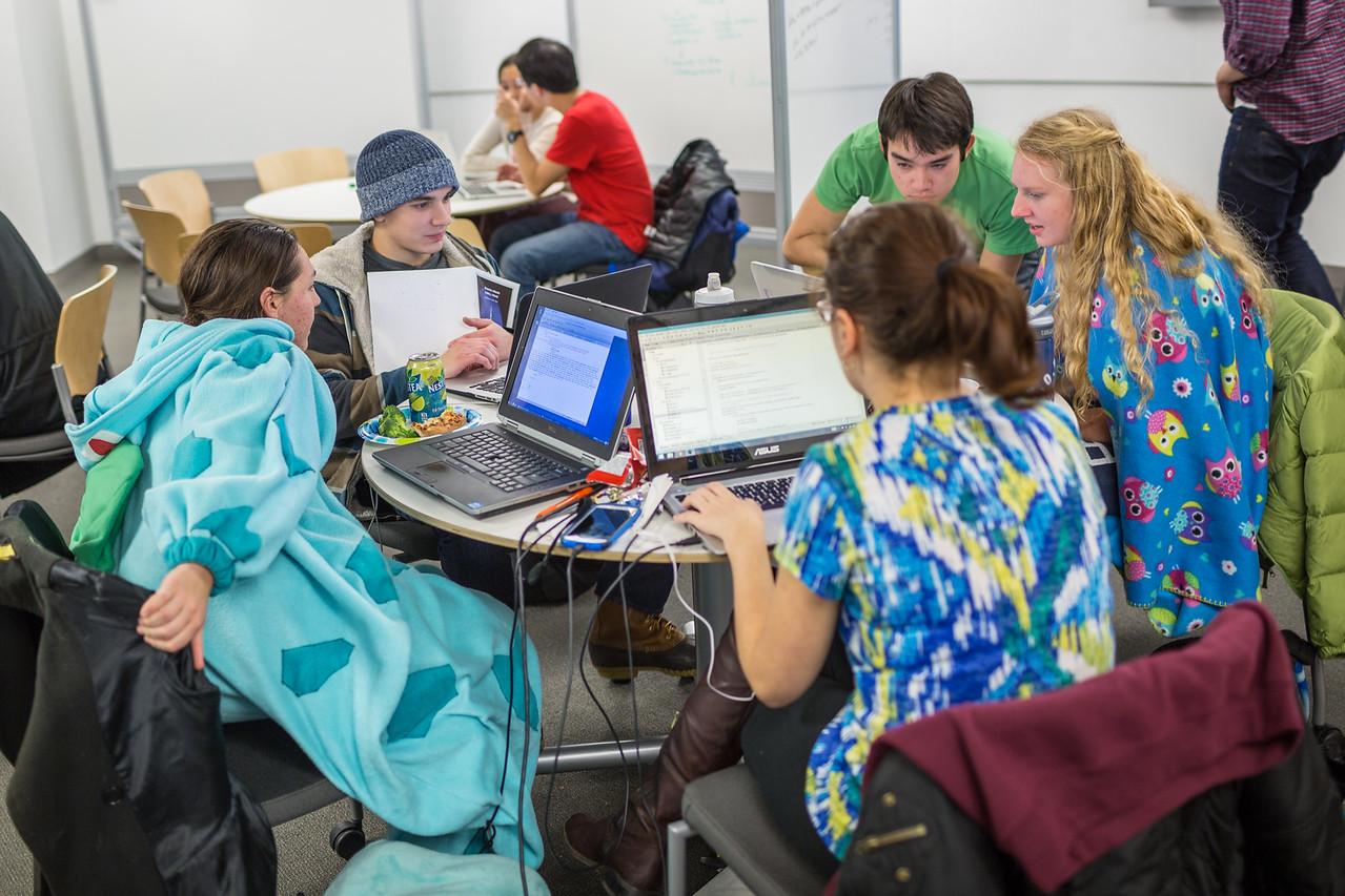 Students at the CS50 Hackathon