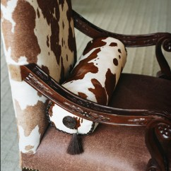 Cowhide Print Accent Chair Irest Massage How To Decorate A Vintage Dark Brown Room Home Guides