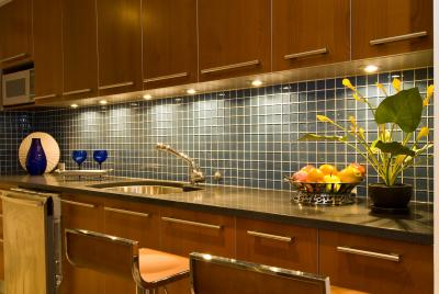 granite countertops and glass wall tile