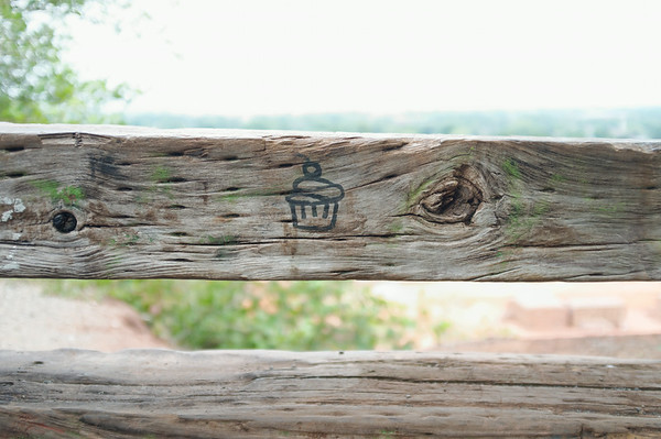 Someone drew a cupcake on a fence.