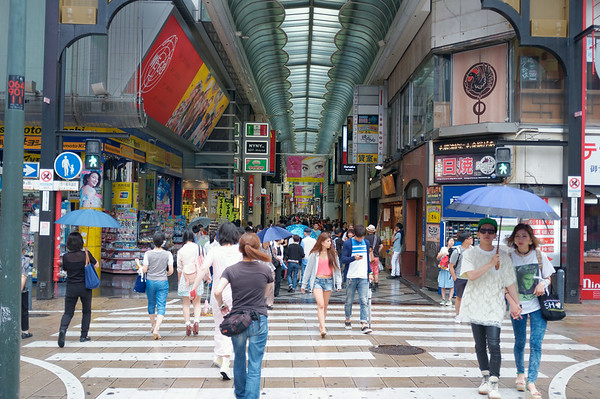 Forget the streets!  The covered arcade intersects with many streets and is the preferred route.