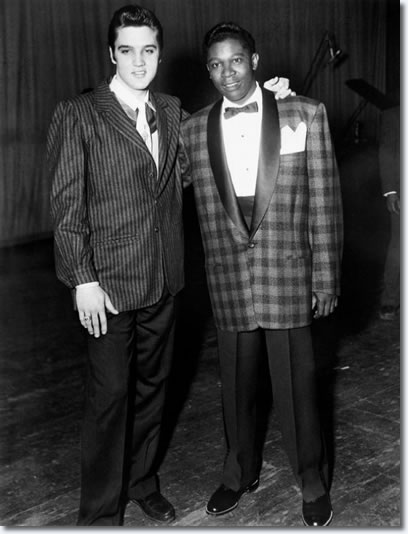 Elvis Presley and B.B. King backstage at the WDIA Goodwill Revue at Ellis Auditorium on December 7, 1956.