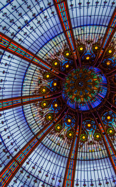 Colorful stained glass roof of the Galleries Lafayette, in Paris