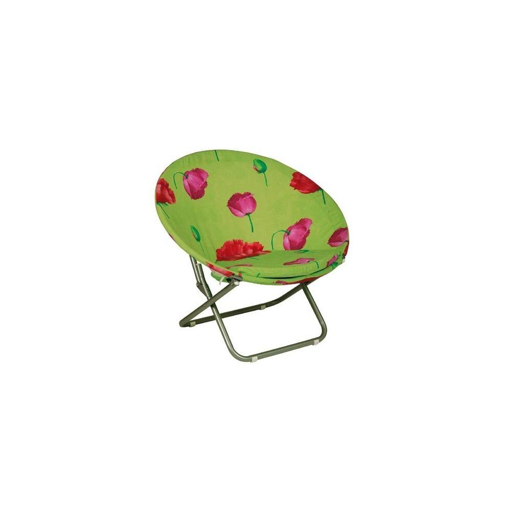 fauteuil pliant rond pivoine et son coussin lafuma