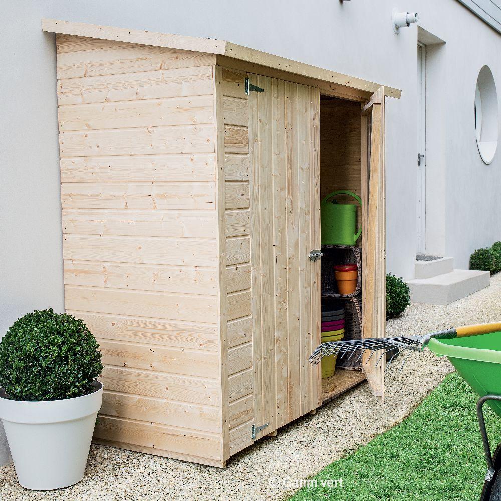 remise de jardin adossee bois avec plancher l170 h180 cm