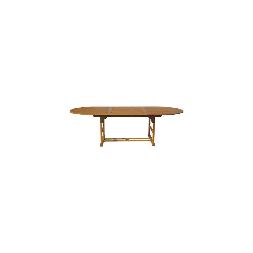 table ovale a rallonges adriana 150 200 x 100 cm en bois exotique
