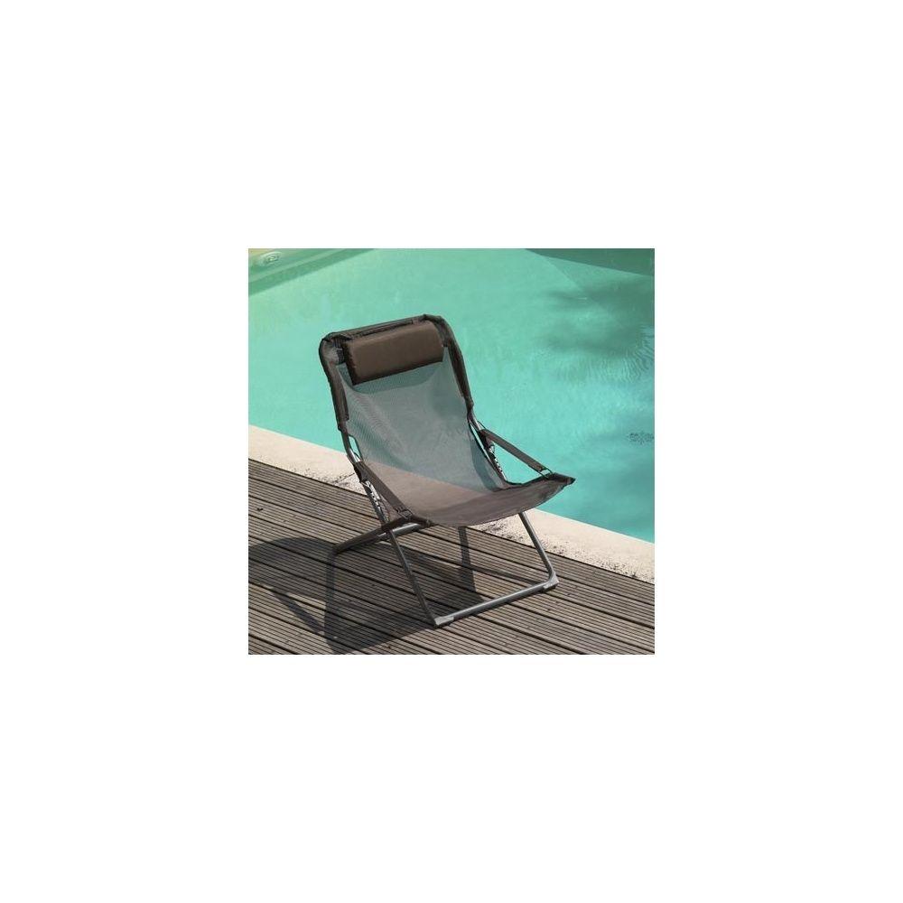 fauteuil relax pliant et reglable taupe lot de 2