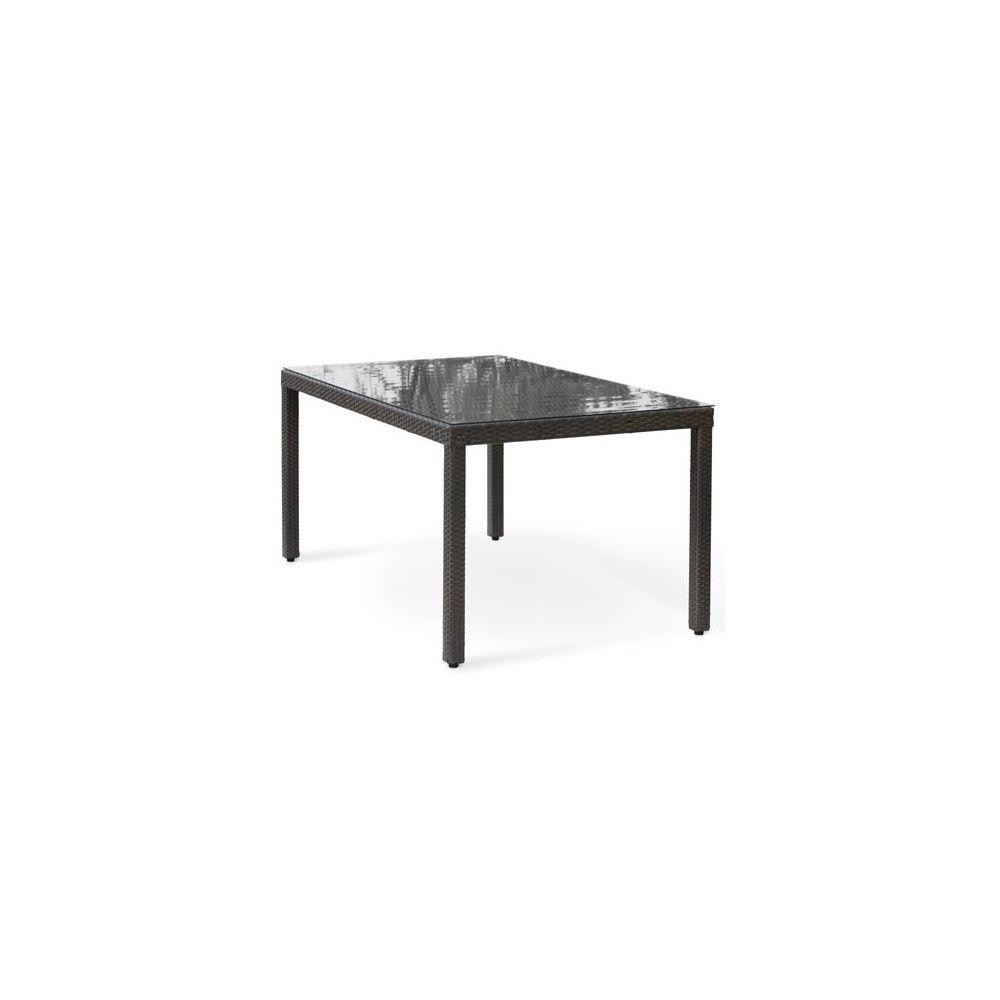 table de jardin en resine tressee wicker 180 cm 6 personnes plateau verre anthracite