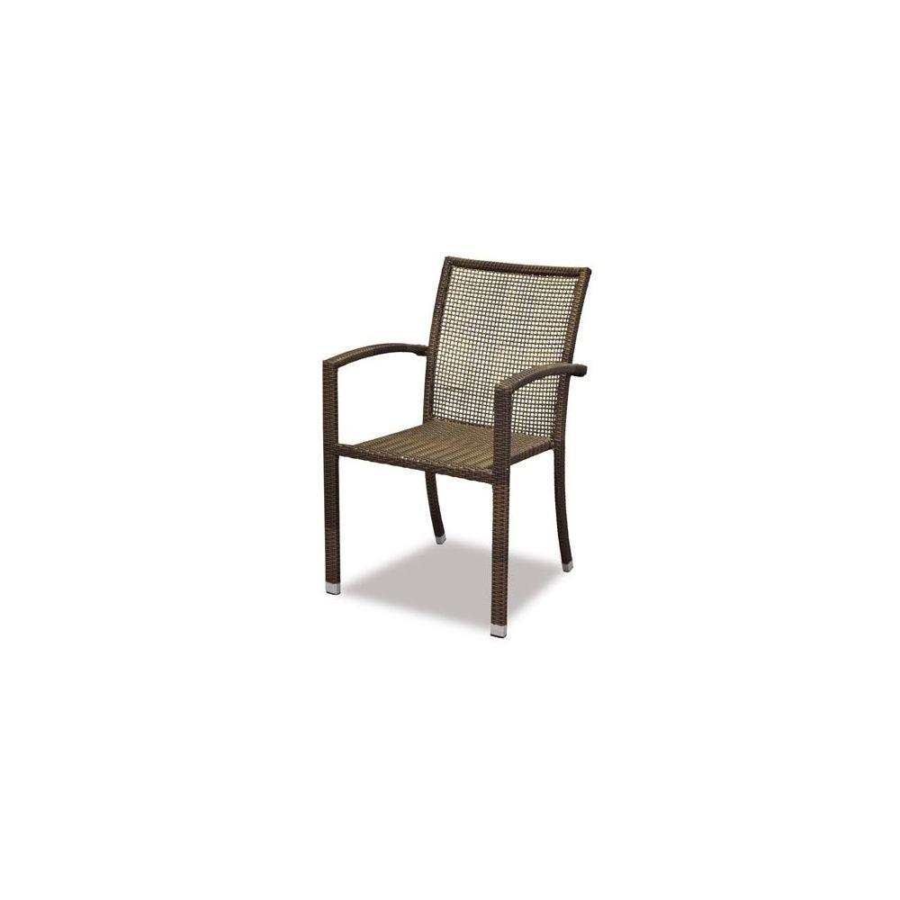 fauteuil de jardin salsao en resine tressee dos ajoure marron metis