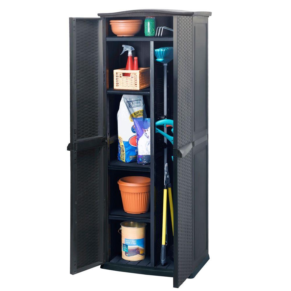 armoire de jardin resine keter rattan l70 h179 cm anthracite