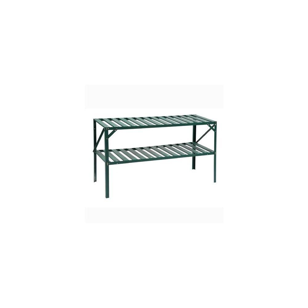 etagere 2 plateaux grand modele aluminium vert laque pour serre lams