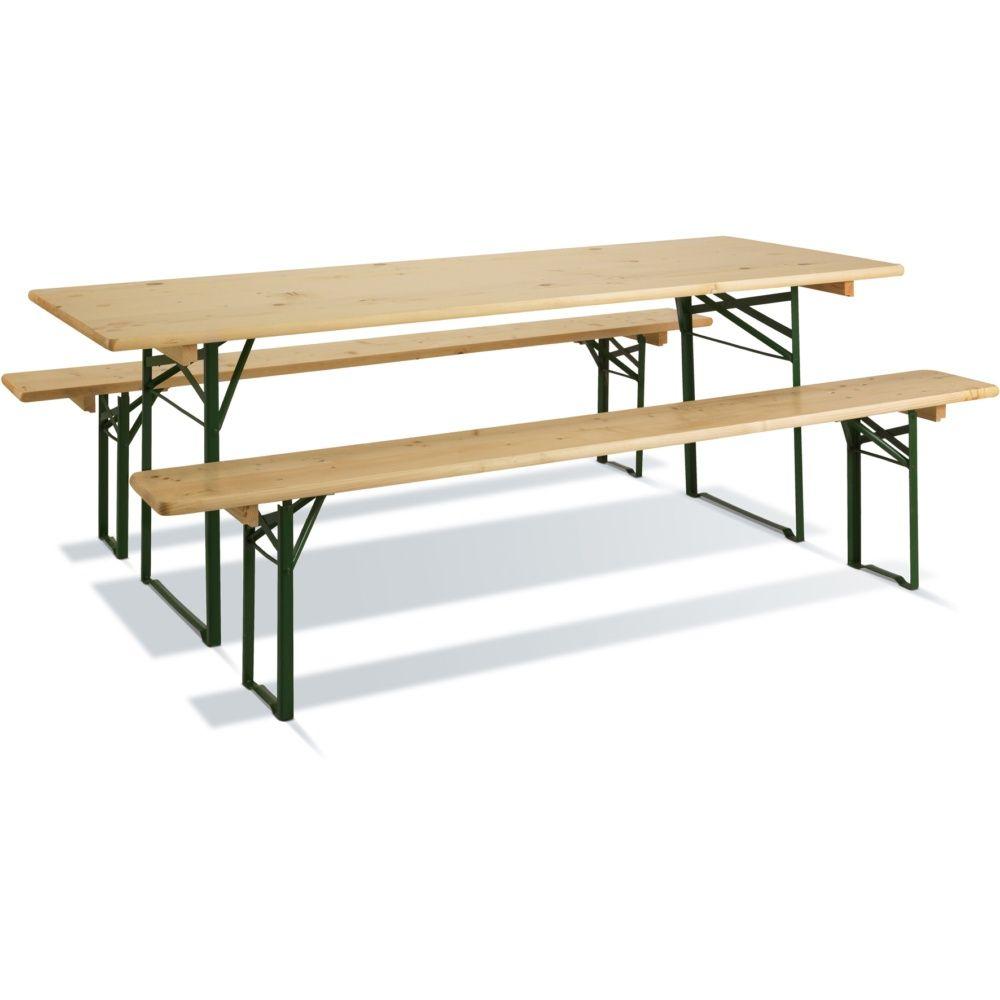 table de pique nique pliante brasseurs bois vernis l220 l80 cm