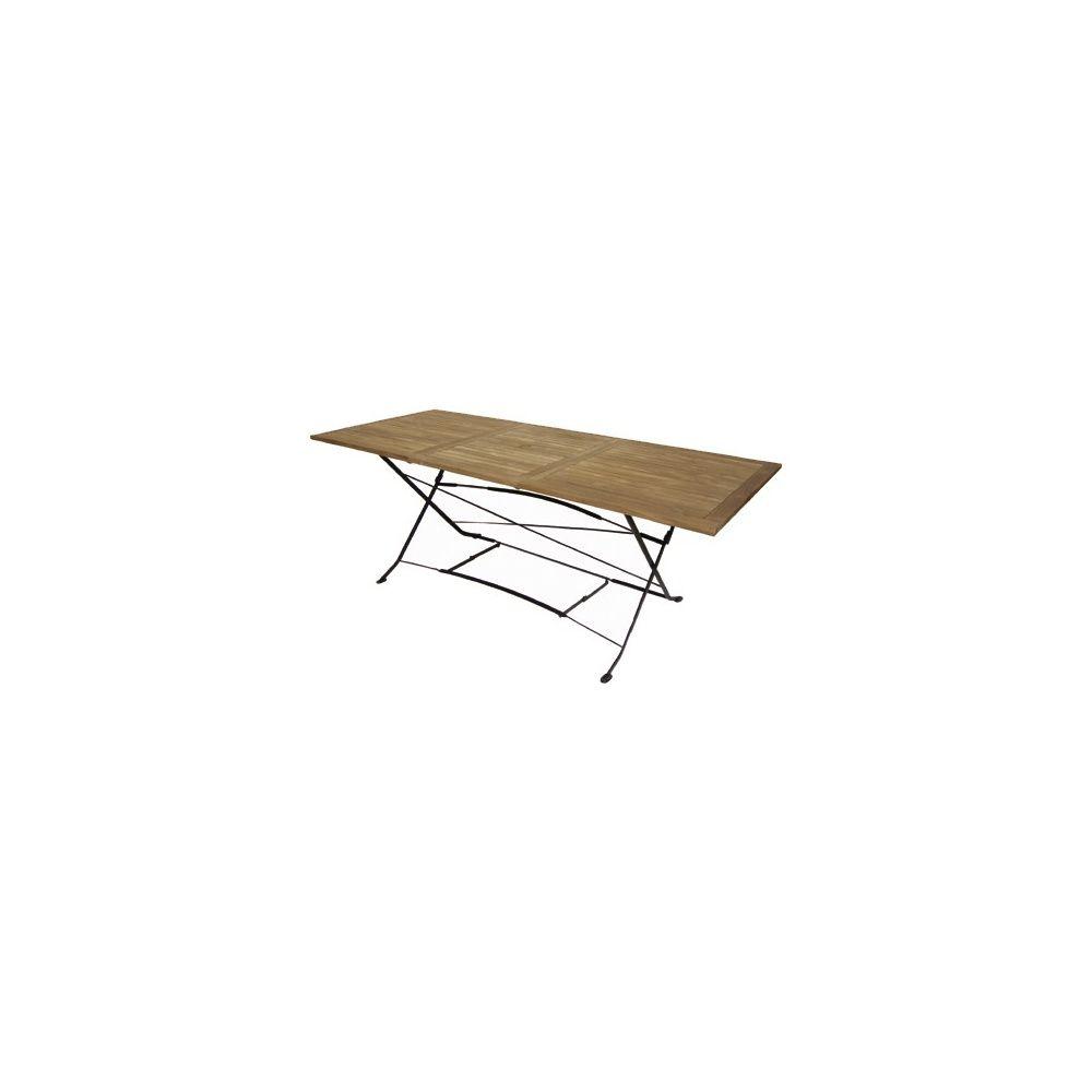 table pliante a rallonge en fer forge et teck fsc 150 210 x 90 cm