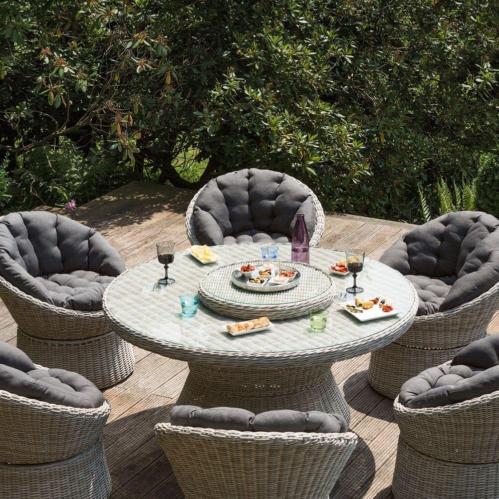 Salon de jardin rsine Kettler Barcelona  6 fauteuils  1 table  Gamm Vert