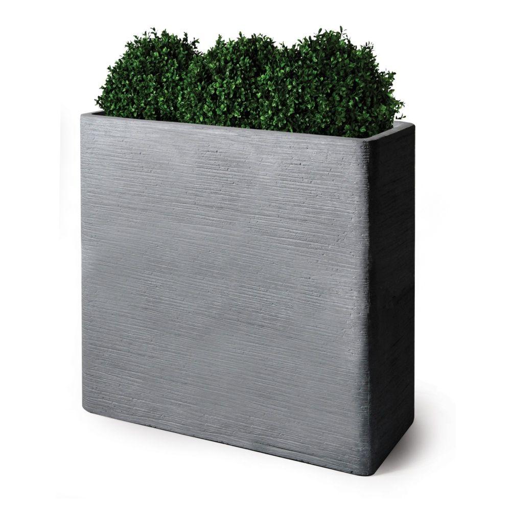 bac a fleurs fibre de terre striee clayfibre l80 h92 cm gris