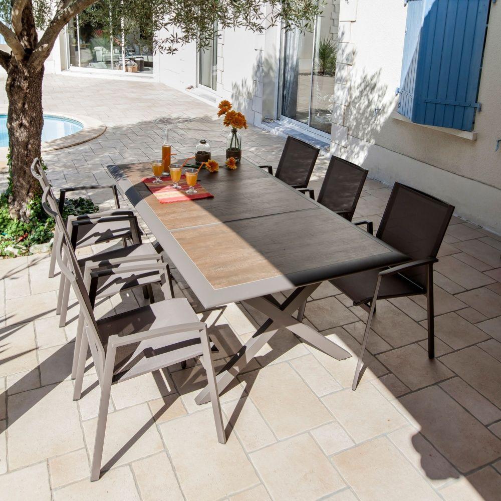Table de jardin Ceram aluminiumplateau cramique caf Carton 203 x 108 x 11 cm  Gamm Vert