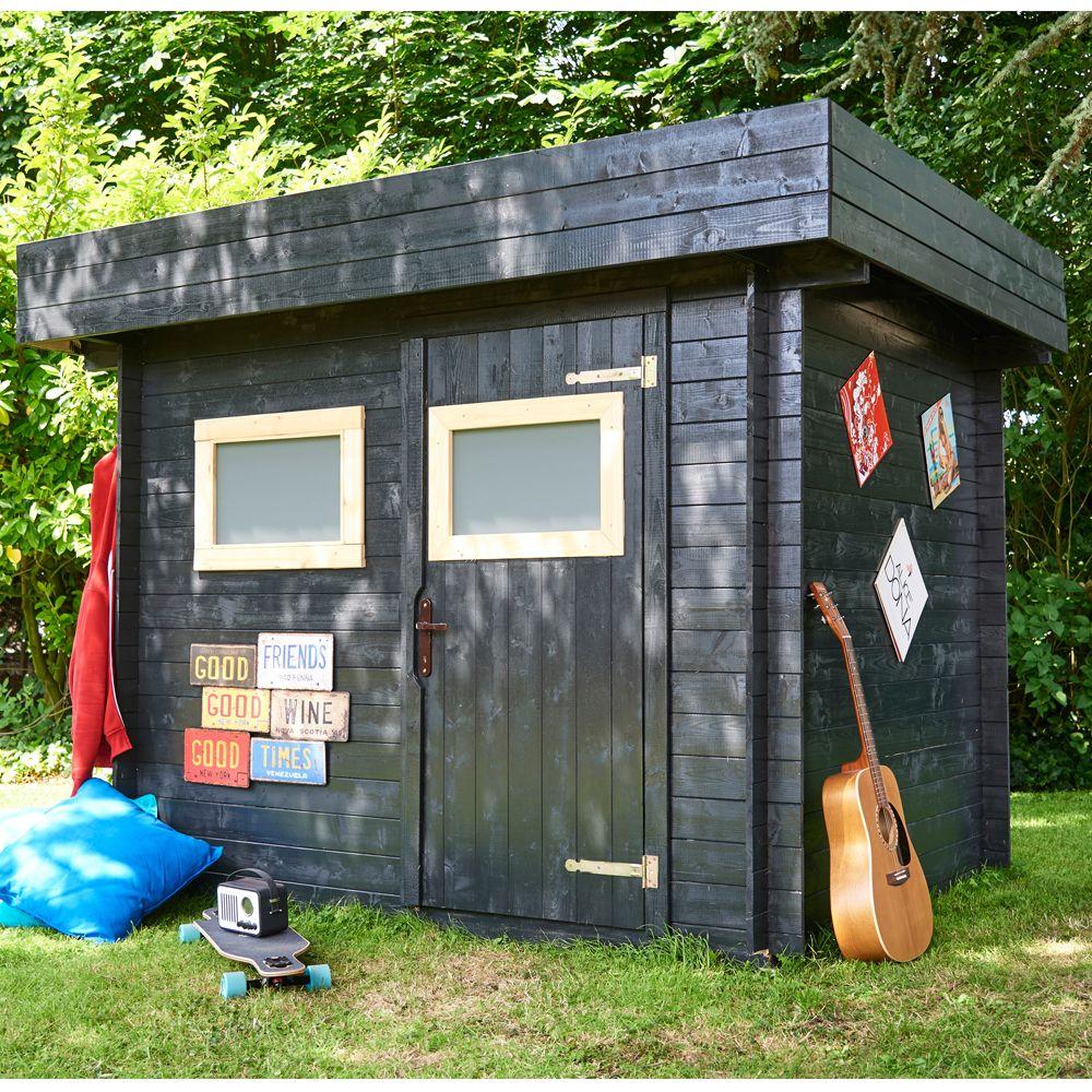 abri de jardin bois toit plat mikki 6 32 m ep 19 mm