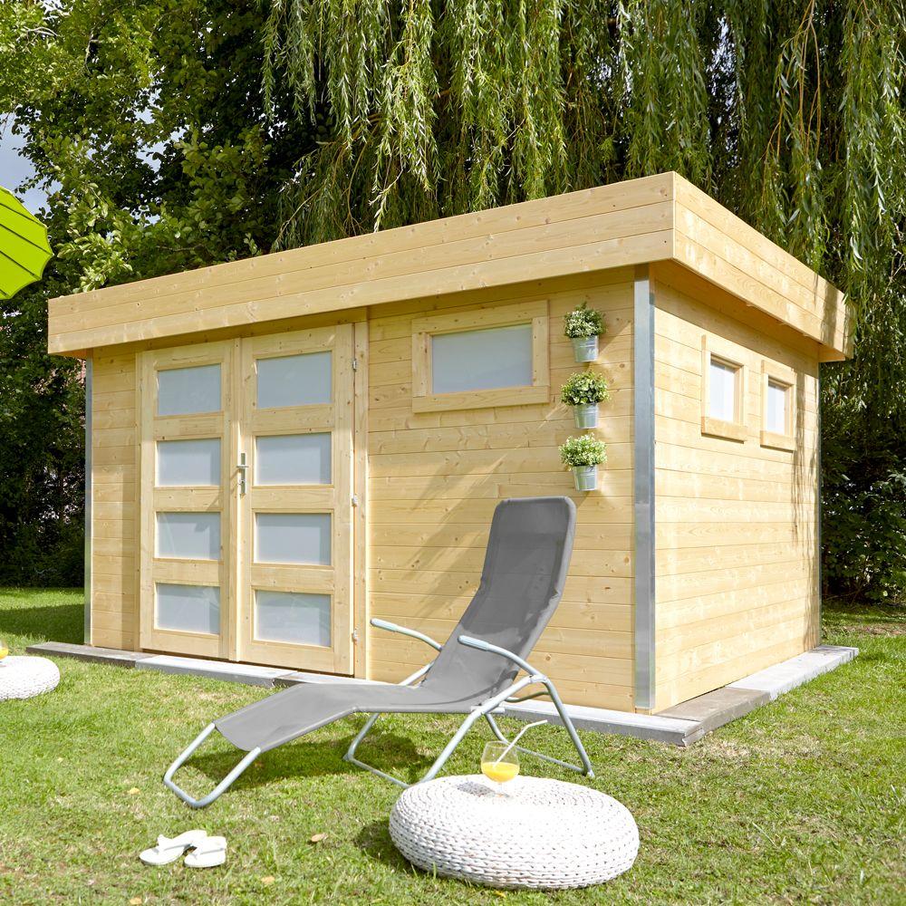 abri de jardin bois toit plat comfy 12 8 m ep 28 mm