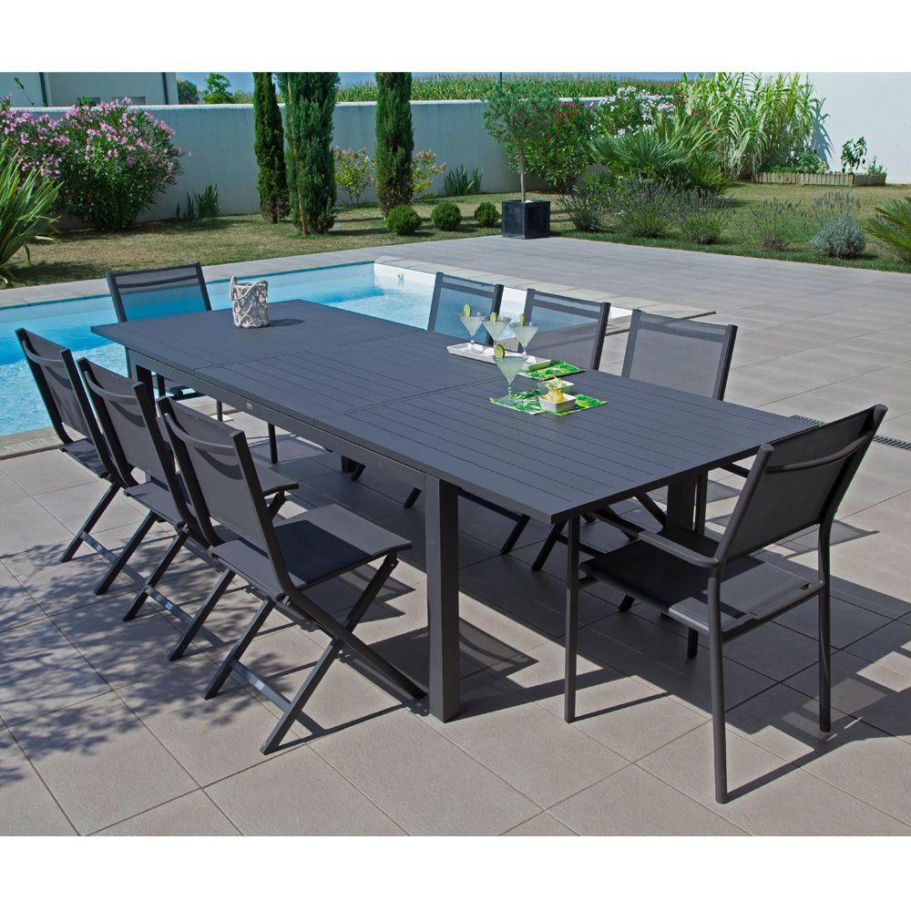 Table de jardin Trieste aluminium l200280 L103 cm gris 208 x 110 x 18 cm  Gamm Vert