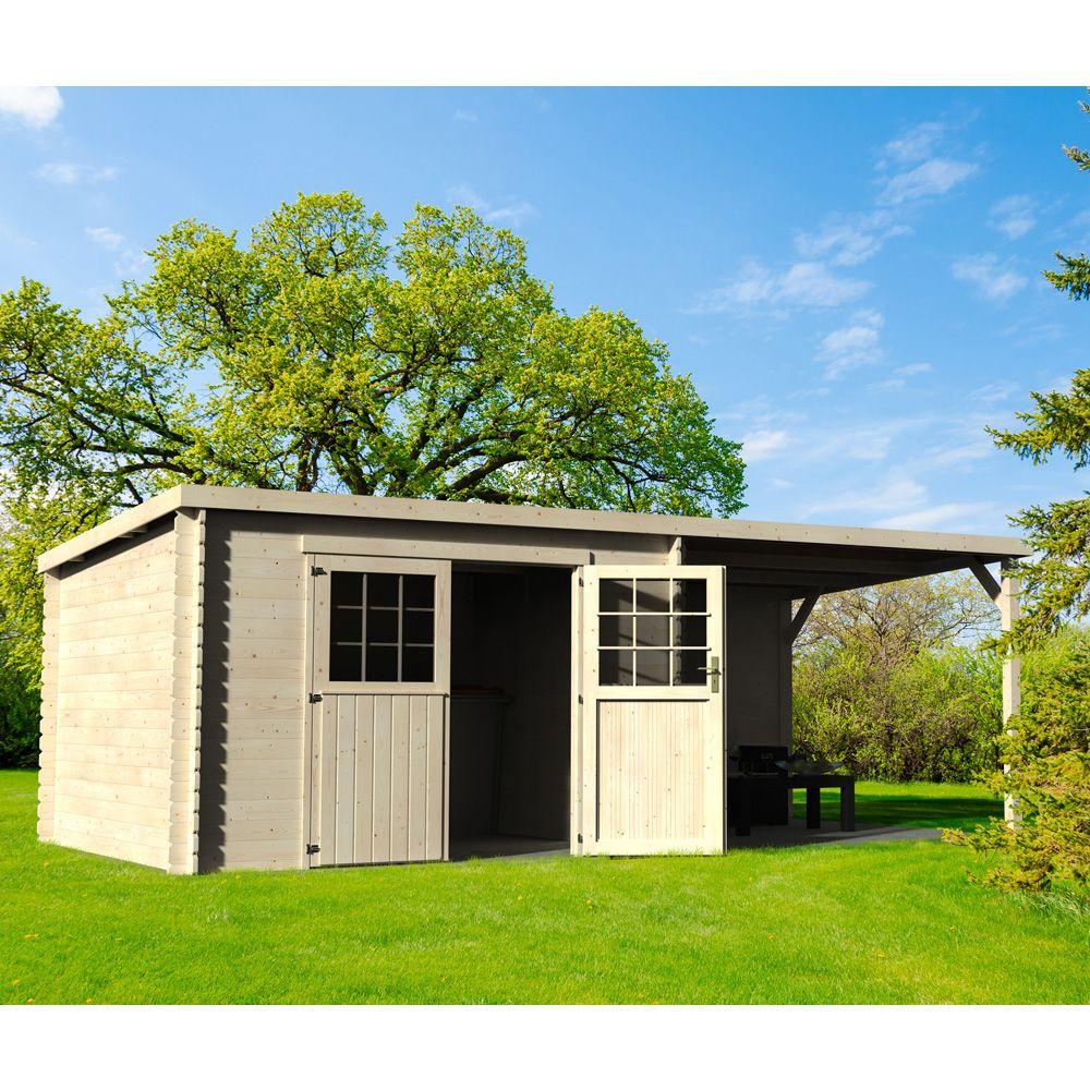 Abri de jardin bois toit plat  auvent 1831 m Ep 28 mm Eden L 330 x l 114 x h 53 cm  Gamm Vert