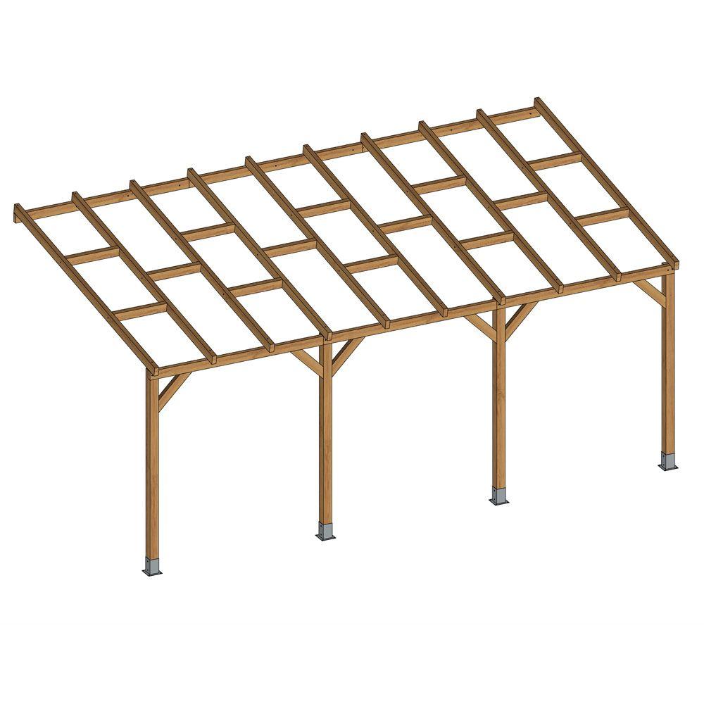 pergola adossee bois traite 3x5 5 m
