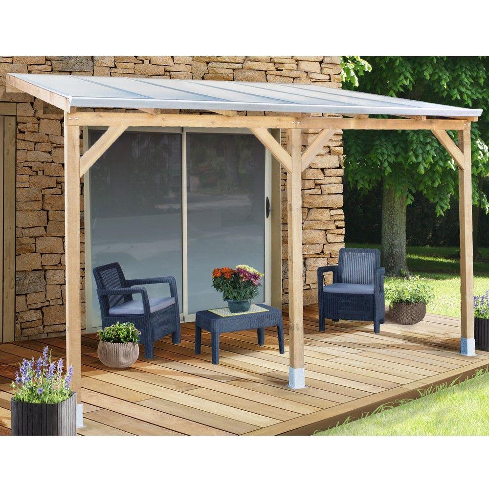pergola adossee bois traite toiture polycarbonate 3x3 7 m