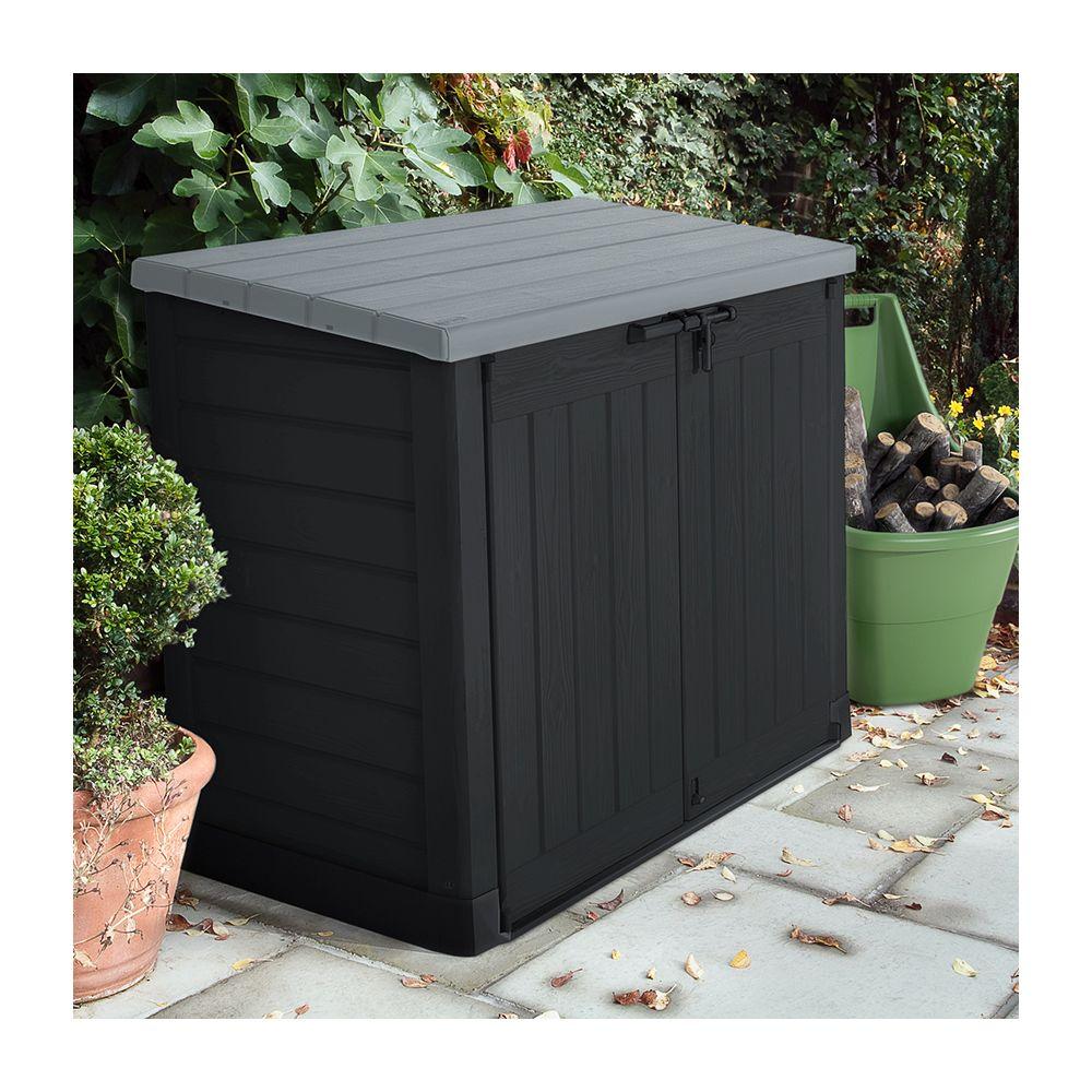 Coffre de jardin en rsine multifonctions 1200L grisnoir L1455 x P85 x H24 cm  Gamm Vert