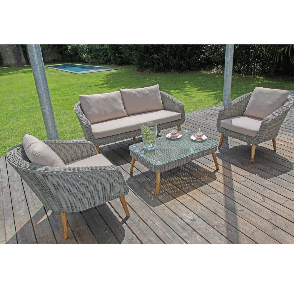 Salon de jardin bas Centura rsine tresse  2 fauteuils