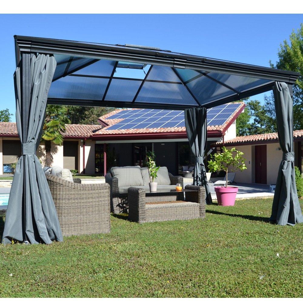 tonnelle autoportante aluminium toit polycarbonate 3x3 6m jade
