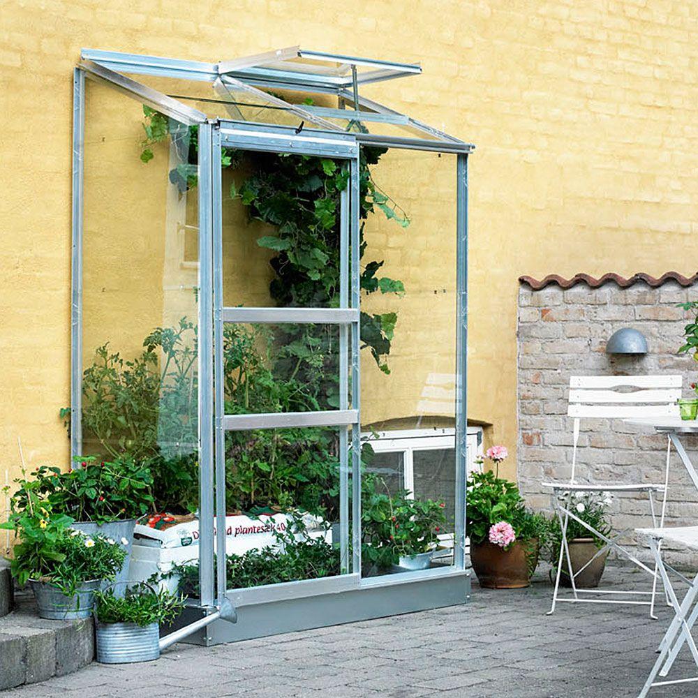 serre adossee en verre horticole altan aluminium 0 90 m embase halls